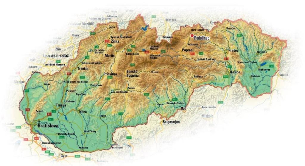 podolinec mapa